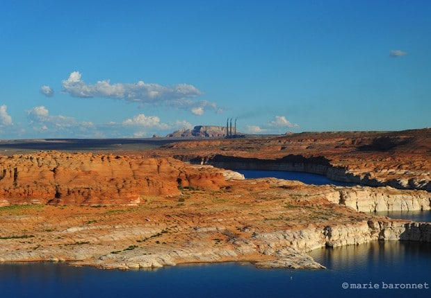 Lake Powell Page Arizona 2013.  In the back the Navajo generating station