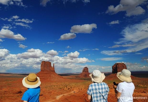 Monument Valley between Arizona and Utah 2013. Tree Japanese tourists