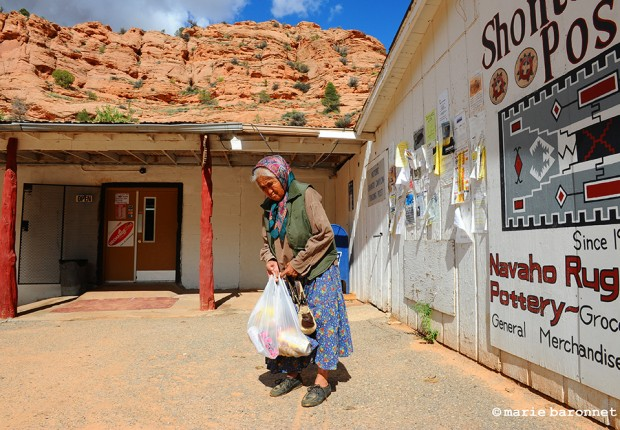 Mary Laughter Shonto Arizona 2013. Mary 84, a shepard now retired shops at the trading post