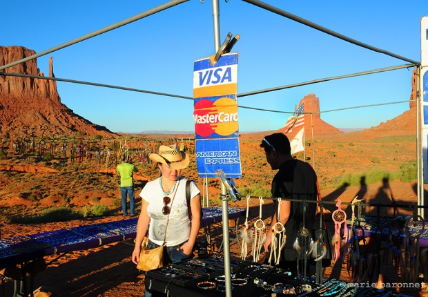 Monument Valley Arizona 2013. Asian tourists looking for dream catchers