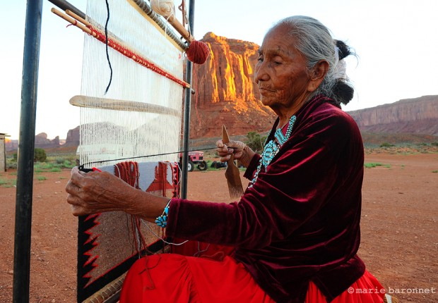 Helen Salazar Monument Valley Utah 2013. Helen lives in the Mittens mountains she helps her family weaving for the tourists