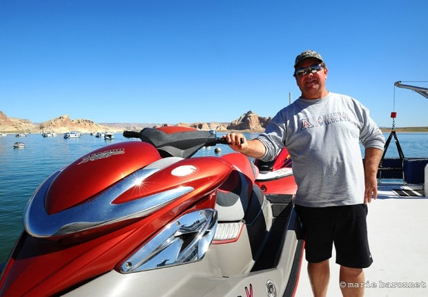 Lake Powell Arizona 2013. One of the two million a year Lake Powell visitor gets ready to embark with his toy