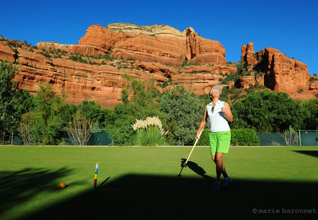 The enchantment resort Sedona Arizona 2013. What ever water was left by the mine is now pumped by the resort for its cricket field